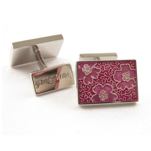Limited Edition Pink Rectangular Cufflinks with Floral Pattern by Van Buck