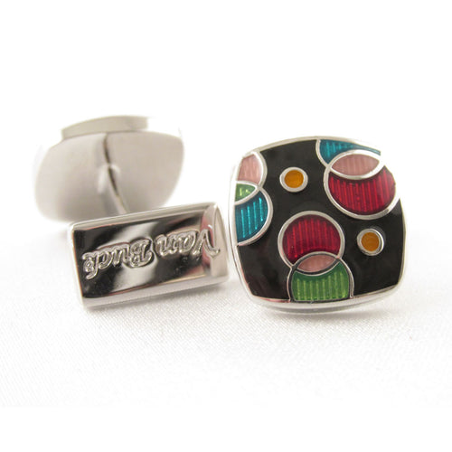 Limited Edition Rounded Multi-coloured Cufflinks by Van Buck