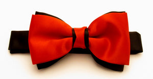 Red & Black Satin Two Tone Vanert Bow by Van Buck