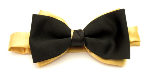 Black & Gold Satin Two Tone Vanert Bow By Van Buck
