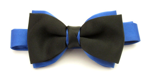 Black & Royal Satin Two Tone Vanert Bow by Van Buck
