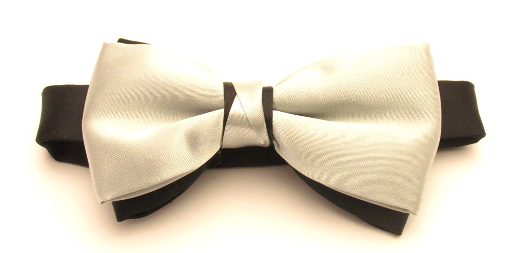 Silver & Black Satin Two Tone Vanert Bow By Van Buck