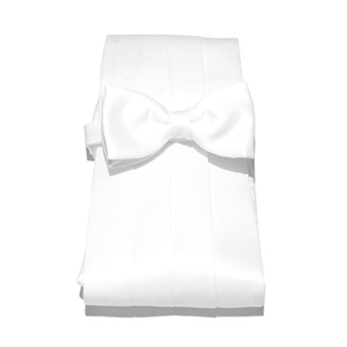 Van Buck Satin Plain White Cummerbund & Bow Set