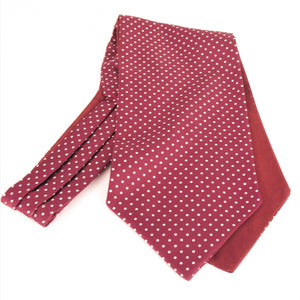 Burgundy with White Polka Dots Fancy Silk Cravat by Van Buck