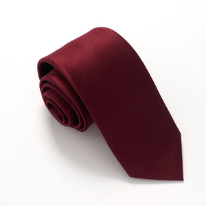 Wine Red Satin Wedding Tie By Van Buck