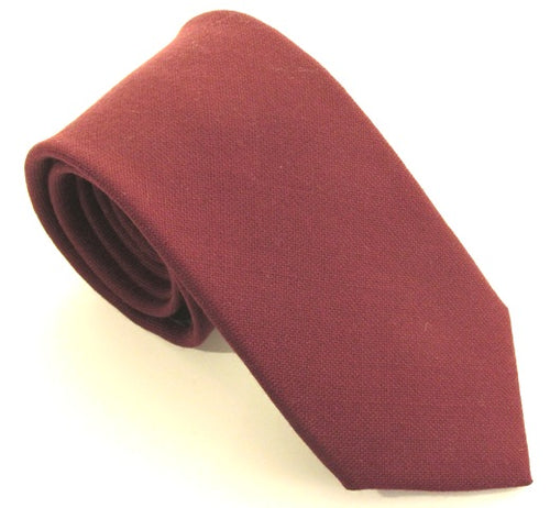 Burgundy Plain Wool Tie by Van Buck