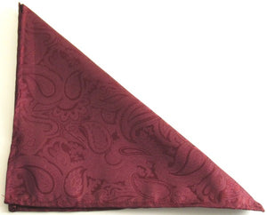 Wine Paisley Silk Pocket Square by Van Buck