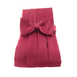 Burgundy Plain Satin Cummerbund & Bow Set by Van Buck