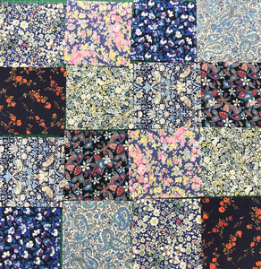 Bag of 18 Blue Assorted Patchwork Liberty Fabric Pieces
