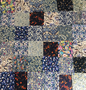 Bag of 36 Blue Assorted Patchwork Liberty Fabric Pieces