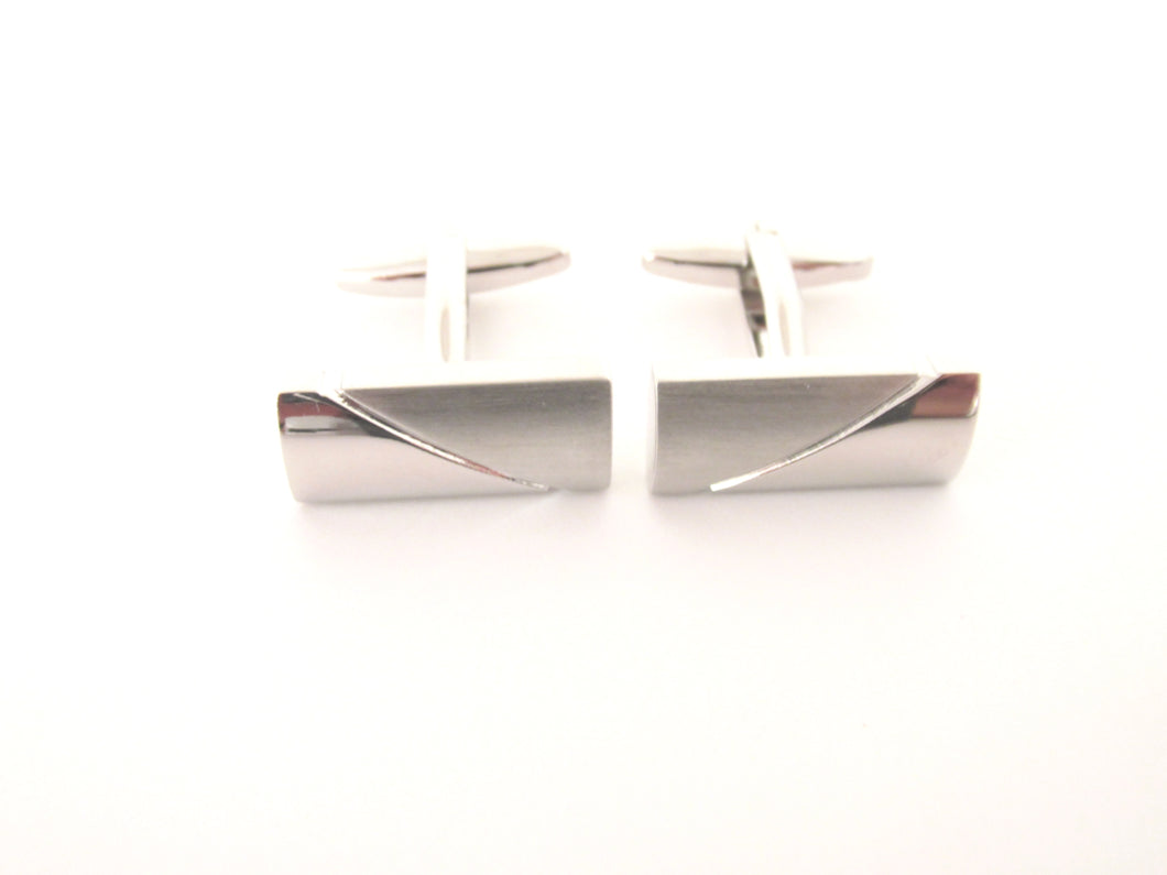 Silver Two Tone Bar Novelty Cufflinks by Van Buck