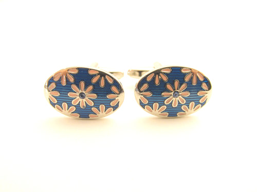 Blue & Pink Flower Novelty Cufflinks by Van Buck
