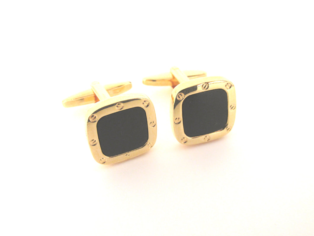 Gold Square Onyx Novelty Cufflinks by Van Buck