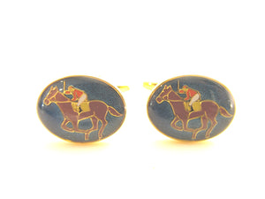 Gold Horse Racing Novelty Cufflinks by Van Buck