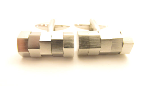 Silver Moving Blocks Novelty Cufflinks by Van Buck