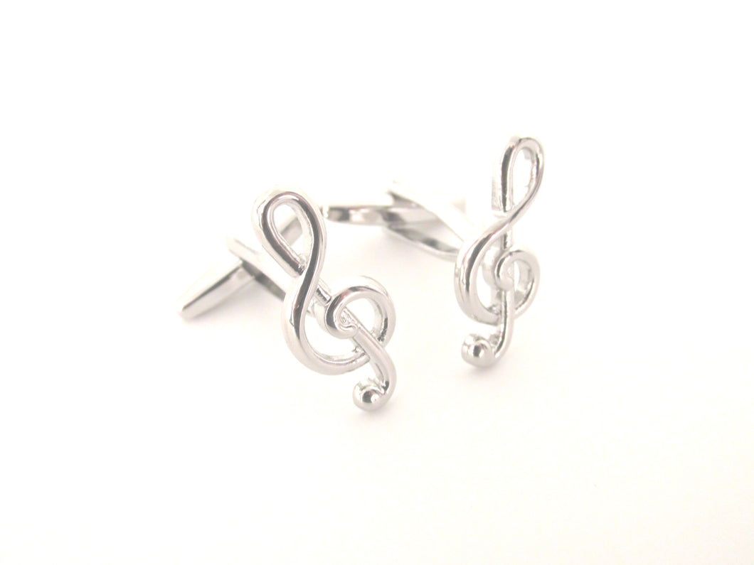 Silver Music Note Novelty Cufflinks by Van Buck