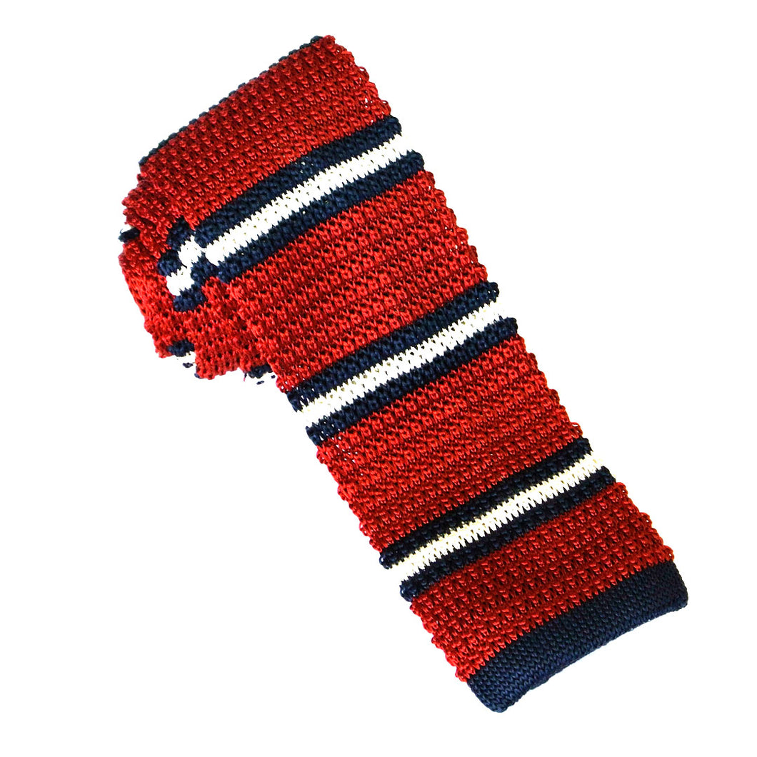 Red & White Stripe Knitted Marl Silk Tie by Van Buck