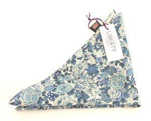 Elysian Day Blue Cotton Pocket Square Made with Liberty Fabric