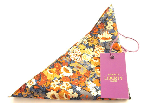 Thorpe Orange Cotton Pocket Square Made with Liberty Fabric
