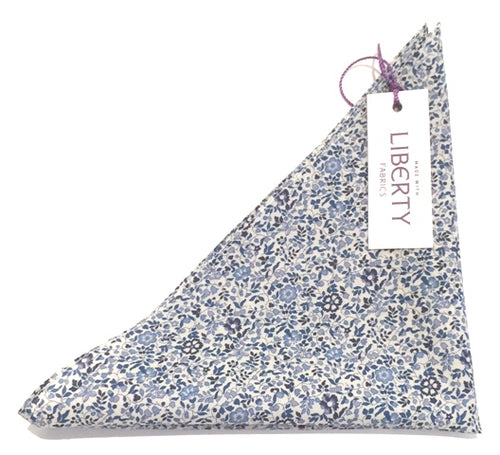 Katie & Millie Blue Cotton Pocket Square Made with Liberty Fabric