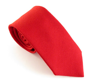 Red Plain Wool Tie by Van Buck