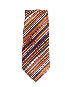 Orange Diagonal Stripe Silk Tie by Van Buck