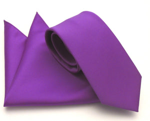 Violet Plain Satin Tie & Pocket Square Set by Van Buck