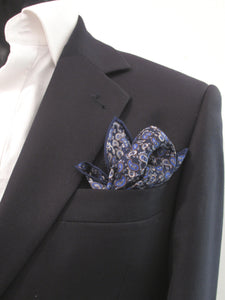 Navy with Royal Blue Paisley Silk Fancy Pocket Square by Van Buck