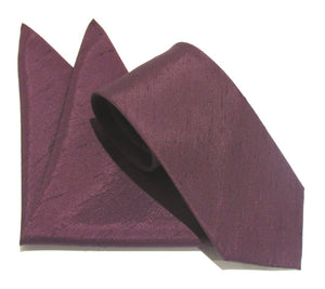 Van Buck Slub Plain Aubergine Tie and Pocket Square Set