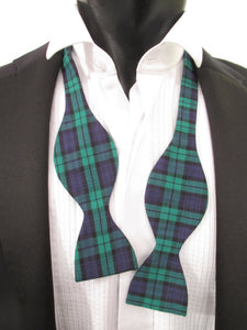 Black Watch Tartan Self-Tied Bow Tie by Van Buck