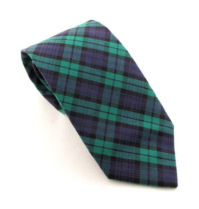 Black Watch Tartan Cotton Tie by Van Buck