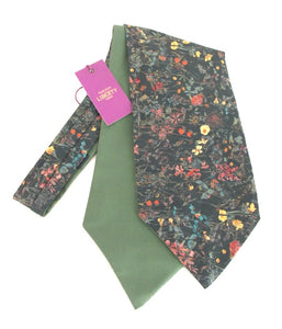 Wild Flowers Green Liberty Print Cotton Cravat by Van Buck