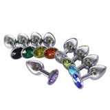 "Random Color Jeweled 3"" Stainless Steel Princess Plug"