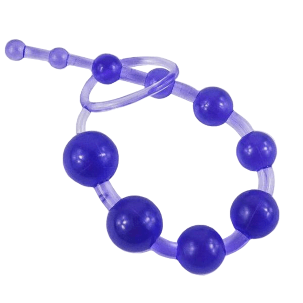 "5 Colors Available 12"" TPE Anal Beads with Pull Ring"