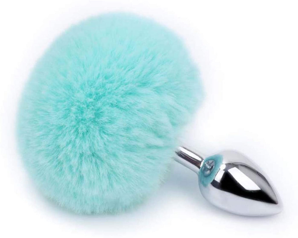 "3"" 7 Colors Bunny Tail 3 Colors Metal and Silicone Plug"