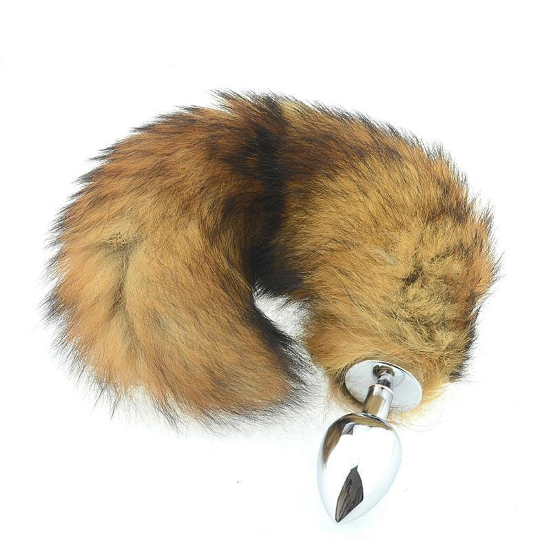 "14"" Tail Brown Cat Stainless steel plug"