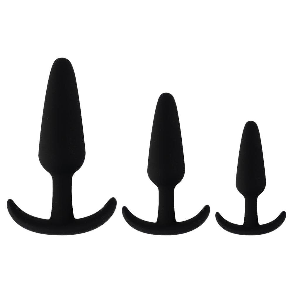 Gorgeous Black Silicone Butt Plug, 3pcs set