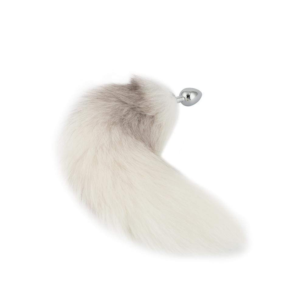 Fox Tail Stainless Steel Butt Plug, White 17""