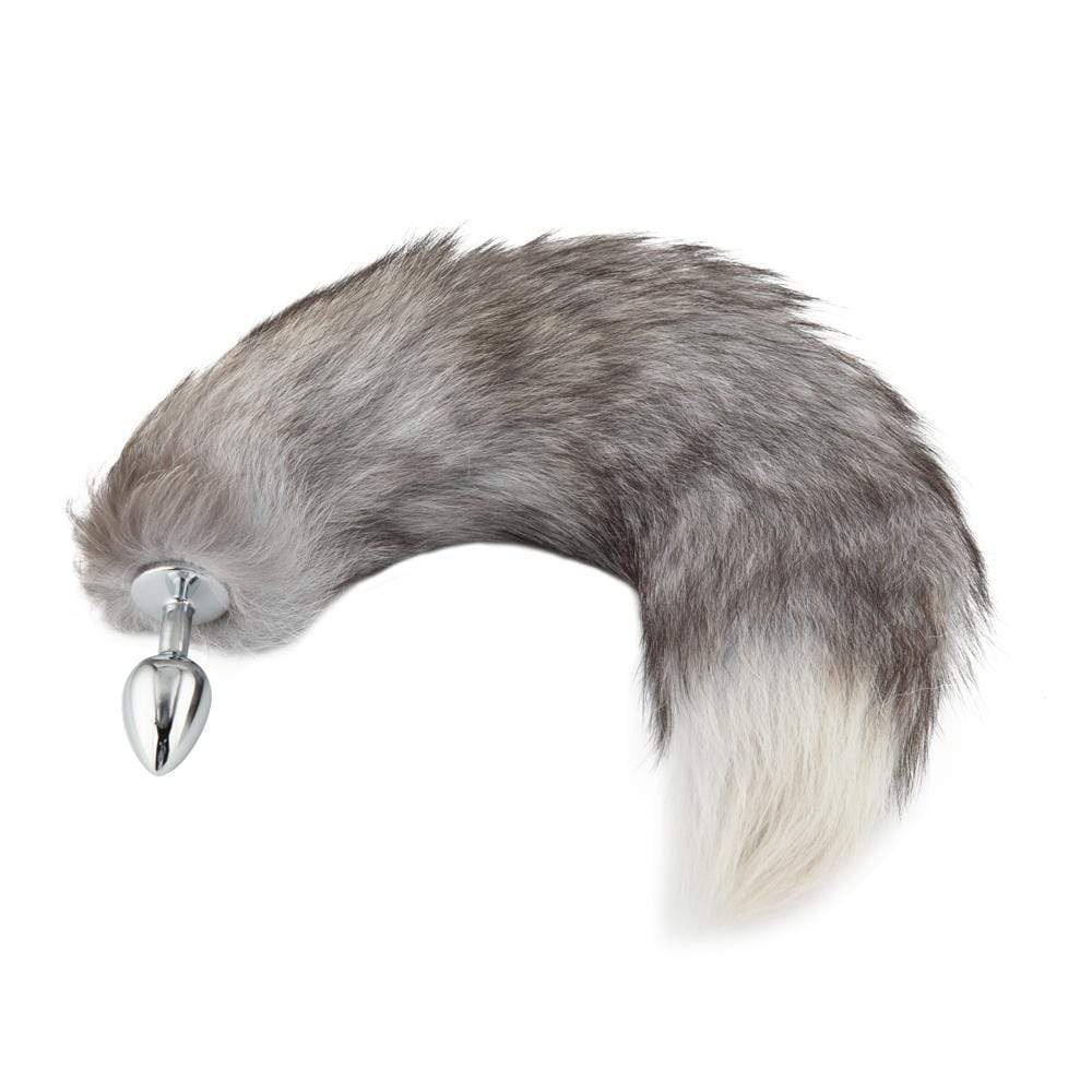 "16"" Gray Cat Tail Metal Plug"