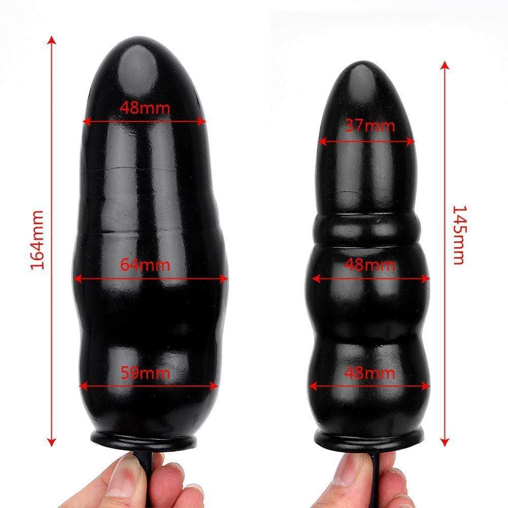 "5.5"" Black Beaded Silicone Inflatable Butt Plug"