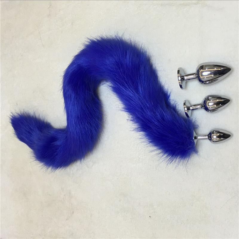 "31"" Tail Multi Color Fox Stainless steel/Silicone plug"