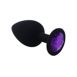 3 Sizes Purple Jeweled Black Silicone Princess Plug