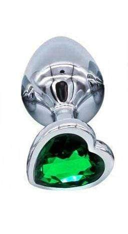 Dark Green Heart-shaped Stainless Steel Plug, Small