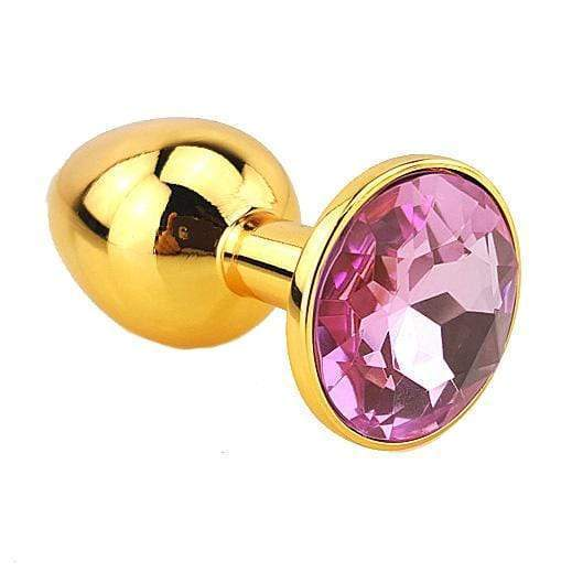 Pink Jeweled Gold Plated Plug, Large