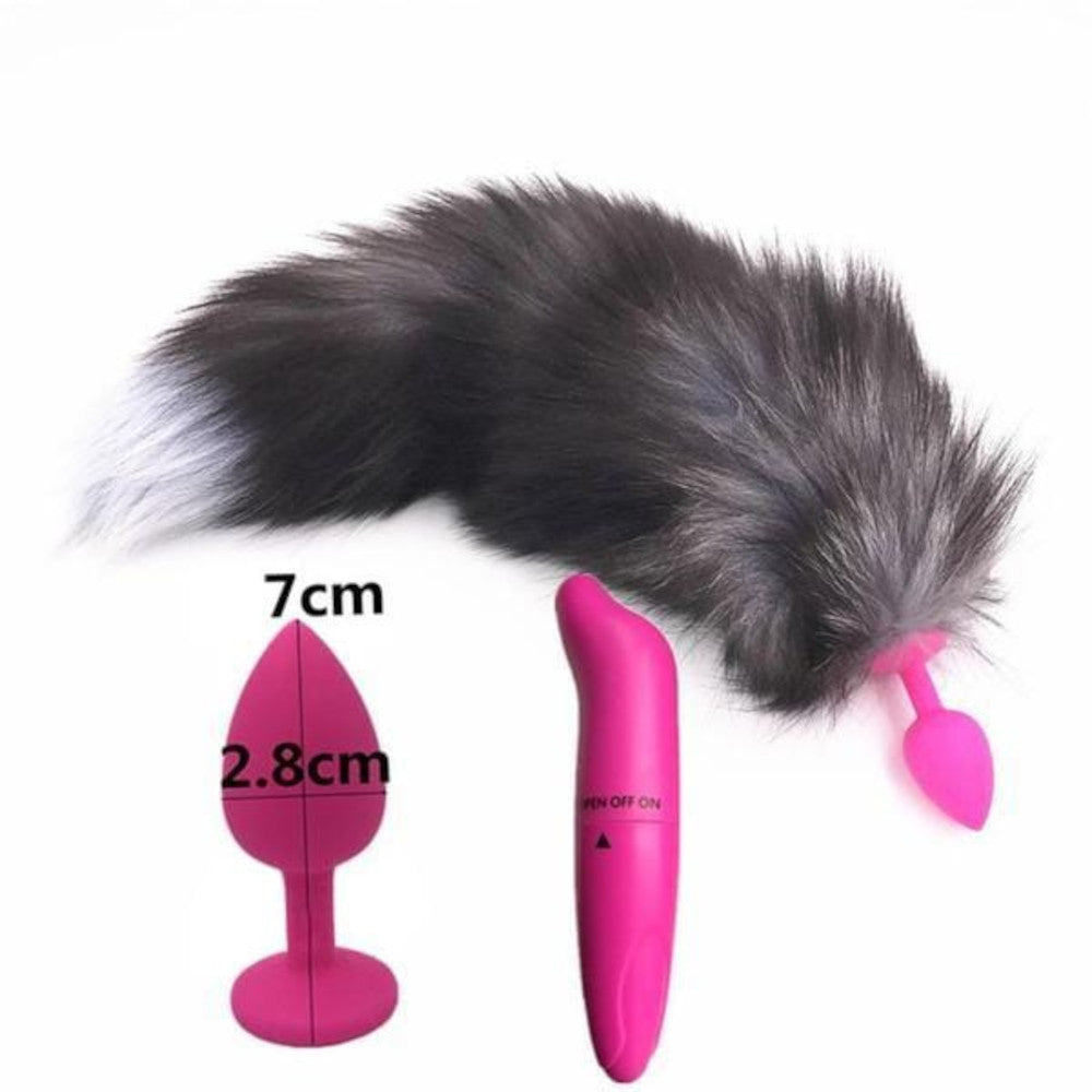 "15"" Dark Fox Tail with Pink Silicone Princess-type Butt Plug and Extra Vibrator"