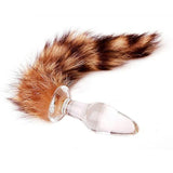 "11"" Raccoon Tail 3 Colors Glass Plug"