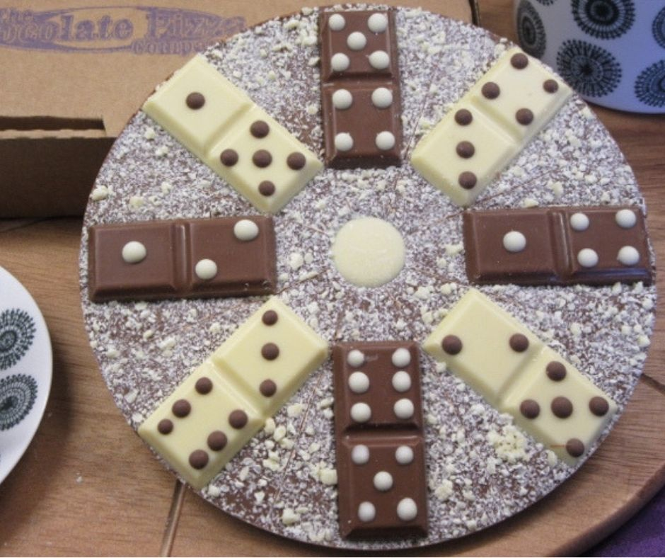 The Domino Chocolate Pizza made by The Chocolate Pizza Company