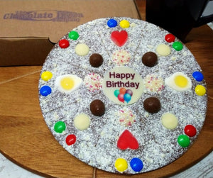 Happy Birthday Chocolate Pizza made by The Chocolate Pizza Company