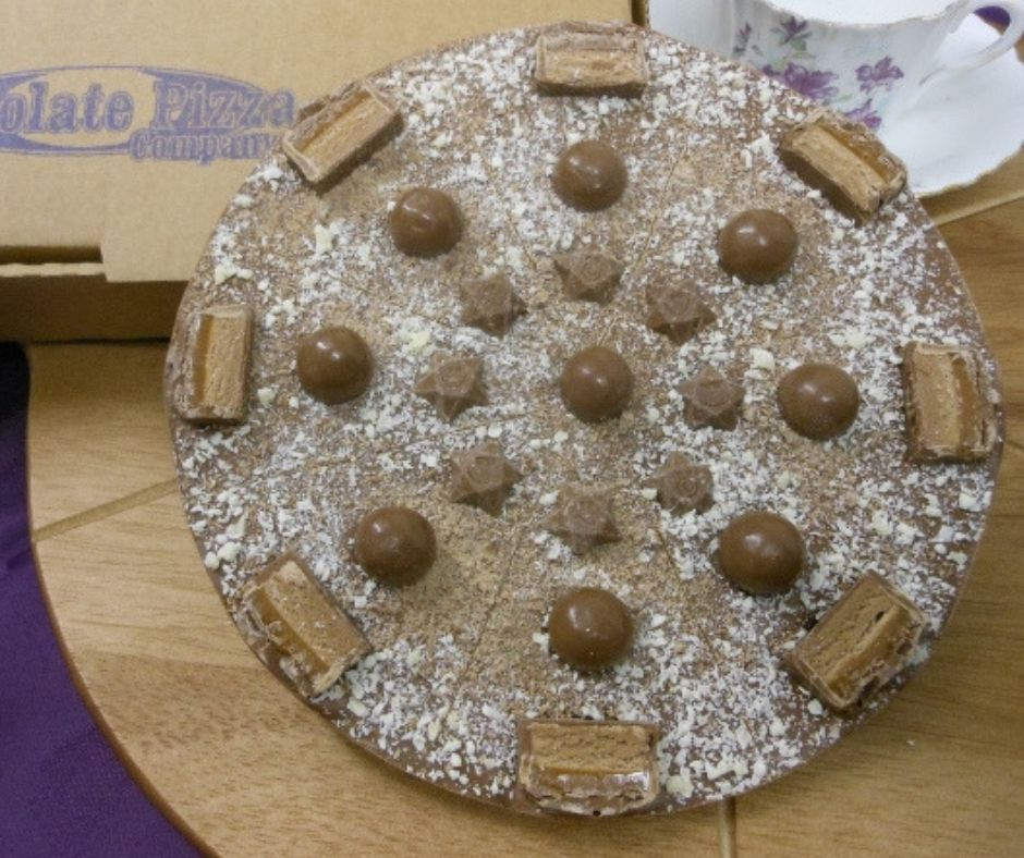 Mighty Malty Chocolate Pizza made by The Chocolate Pizza Company