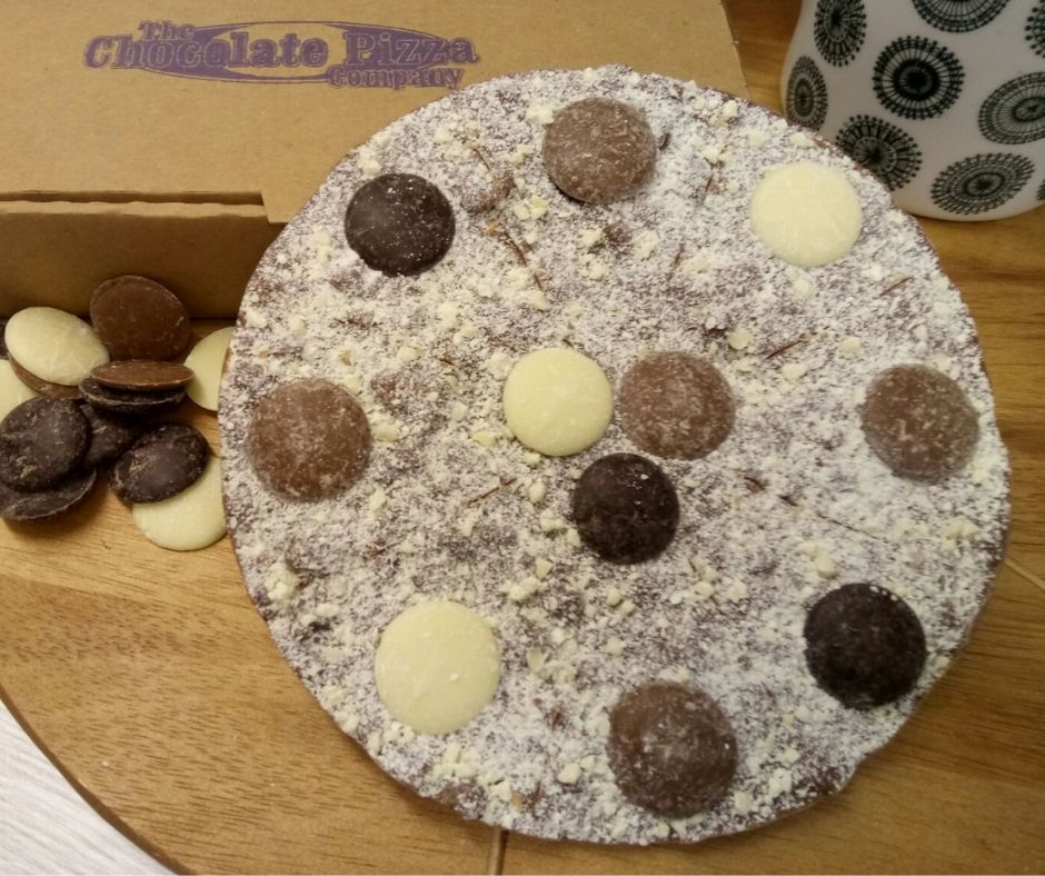 Triple Chocolate Brownie Chocolate Pizza made by The Chocolate Pizza Company